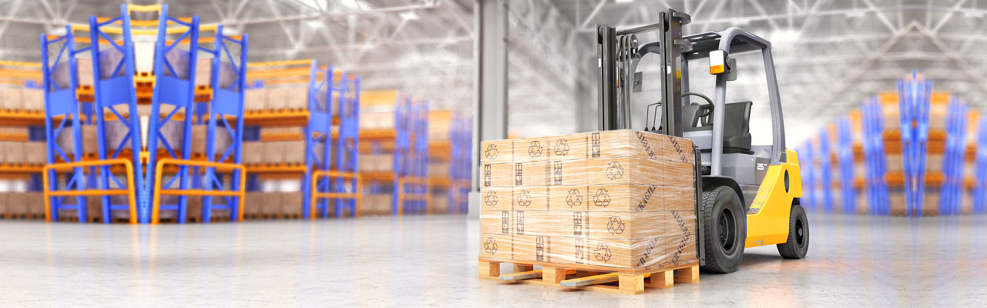 yellow forklift with cargo