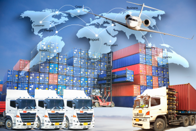 logistics concept, map global business connection technology interface global partner connection